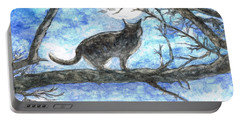 Portable Battery Charger featuring the painting Moon Cat by Teresa White