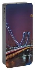 Moon Rise Over The George Washington Bridge Portable Battery Charger