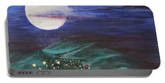 Portable Battery Charger featuring the painting Moon Showers by Cheryl Bailey