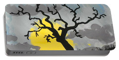 Portable Battery Charger featuring the painting Moon Tree by Marisela Mungia