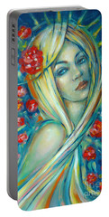 Portable Battery Charger featuring the painting Moonlight Flowers 030311 by Selena Boron