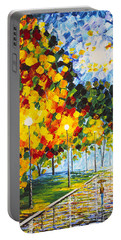 Portable Battery Charger featuring the painting Moonlight Raindrops Original Acrylic Palette Knife Painting by Georgeta Blanaru
