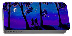 Portable Battery Charger featuring the painting Moonlight Walk by Sophia Schmierer