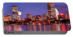 Moonlit Boston On The Charles Portable Battery Charger by Mitchell R Grosky