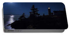Portable Battery Charger featuring the photograph Moonlit Panorama West Quoddy Head Lighthouse by Marty Saccone