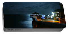Portable Battery Charger featuring the photograph Moonlit Pier by Laura Fasulo