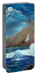 Portable Battery Charger featuring the painting Moonlit Wave by Jenny Lee