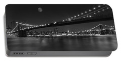 Moonrise Over Manhattan Bw Portable Battery Charger