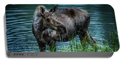 Moose In The Water Portable Battery Charger by Andrew Matwijec
