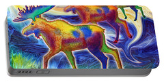 Portable Battery Charger featuring the mixed media Moose Mystique by Teresa Ascone