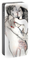 Portable Battery Charger featuring the mixed media More Kissing - Nude Couple In Love  by Carolyn Weltman