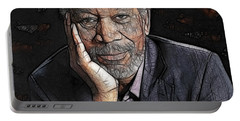 Portable Battery Charger featuring the painting Morgan Freeman  by Georgeta Blanaru