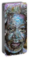 Portable Battery Charger featuring the painting Morgan In Blue by Laur Iduc