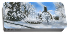 Portable Battery Charger featuring the painting Morning After The Snowstorm  by Jean Pacheco Ravinski