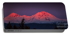 Morning Dawn On Two Of Three Sisters Mountain Tops In Oregon Portable Battery Charger