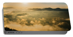 Morning Fog In The Saxon Switzerland Portable Battery Charger