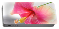 Portable Battery Charger featuring the photograph Morning Hibiscus In Gentle Light - Square Macro by Connie Fox
