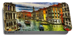 Portable Battery Charger featuring the painting Beautiful Morning In Venice, Italy by Georgi Dimitrov