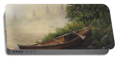 Portable Battery Charger featuring the painting Morning Mist by Kim Lockman