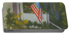 Morning Sun On Old Glory - Art By Bill Tomsa Portable Battery Charger