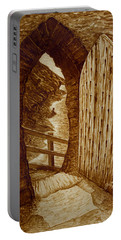 Portable Battery Charger featuring the painting Morning Walk On The Beach Original Coffee Painting by Georgeta Blanaru
