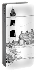 Portable Battery Charger featuring the drawing Morris Island Lighthouse by Ira Shander