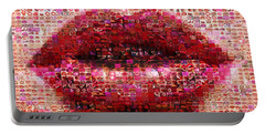 Mosaic Lips Portable Battery Charger