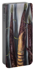 Portable Battery Charger featuring the painting Moso Bamboo  by Randol Burns