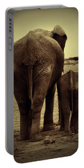 Mother And Baby Elephant In Black And White Portable Battery Charger by Amanda Stadther