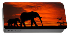 Mother And Baby Elephants Sunset Silhouette Series Portable Battery Charger