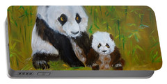 Portable Battery Charger featuring the painting Mother And Baby Panda by Jenny Lee