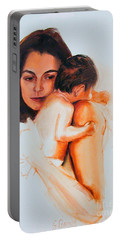 Portable Battery Charger featuring the painting Mother And Child by Greta Corens
