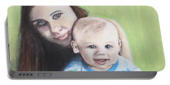 Mother And Son Portable Battery Charger by Jeanne Fischer