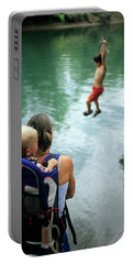 Mother And Son Watch Boy Jump In Water Portable Battery Charger