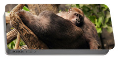Mother And Youg Gorilla Sleeping In A Tree Portable Battery Charger