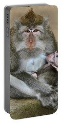 Mother Macaque And Her Baby Portable Battery Charger