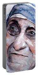 Mother Theresa Watercolor Portable Battery Charger by Laur Iduc
