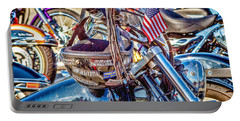 Portable Battery Charger featuring the photograph Motorcycle Helmet And Flag by Eleanor Abramson