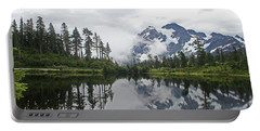 Mount Baker- Lake- Fir Trees And  Fog Portable Battery Charger