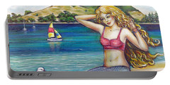 Portable Battery Charger featuring the painting Mount Maunganui Beach Mermaid 160313 by Selena Boron