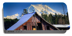 Mount Rainier And Barn Portable Battery Charger