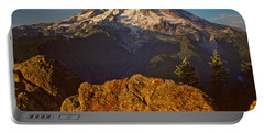 Portable Battery Charger featuring the photograph Mount Rainier At Sunset With Big Boulders In Foreground by Jeff Goulden