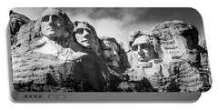 Mount Rushmore National Memorial In Black And White Portable Battery Charger