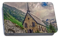 Portable Battery Charger featuring the photograph Mountain Chapel by Hanny Heim