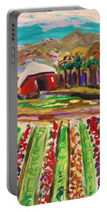 Portable Battery Charger featuring the painting Mountain Farm by Mary Carol Williams