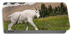 Mountain Goat Walking Beneath A Talus Slope Portable Battery Charger