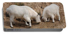 Portable Battery Charger featuring the photograph Mountain Goats At The Salt Lick by Vivian Christopher