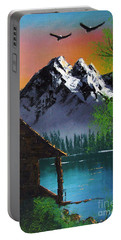 Portable Battery Charger featuring the painting Mountain Lake Cabin W Eagles by Marianne NANA Betts