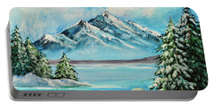 Portable Battery Charger featuring the painting Mountain Lake In Winter Original Painting Forsale by Bob and Nadine Johnston