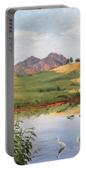Mountain Landscape With Egret Portable Battery Charger